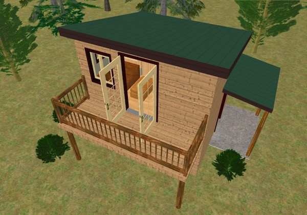 Water Closet Dimensions The Cozy Cube: Tiny House With A Balcony From Cozy Home Plans