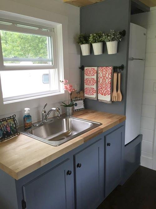 upstairs-kitchen-gray-cabinets Cottage Kitchen Pinterest Gray