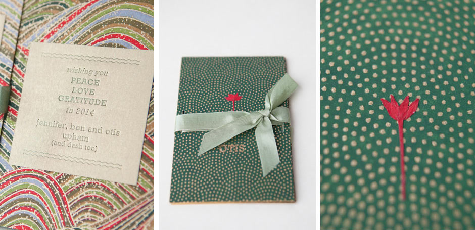 Trifold Birth Announcement with Japanese Paper 2 Tiny Pine Press