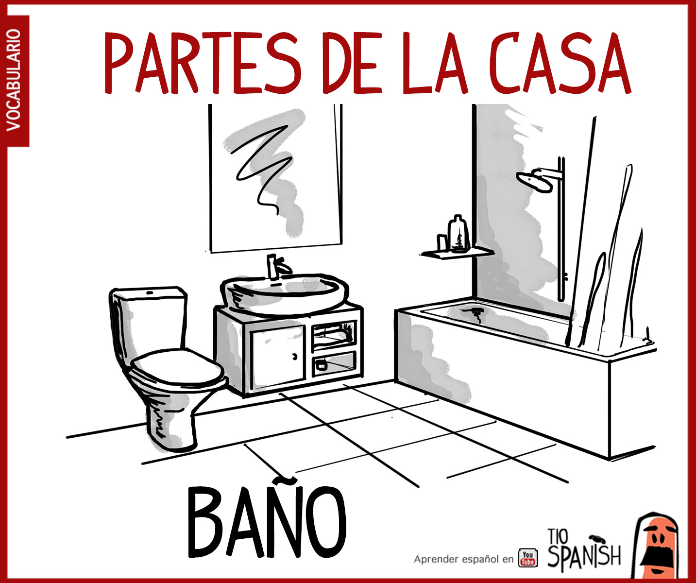 Baño Para Colorear Bano Vocabulario Espanol Intermedio Partes Casa Tio Spanish