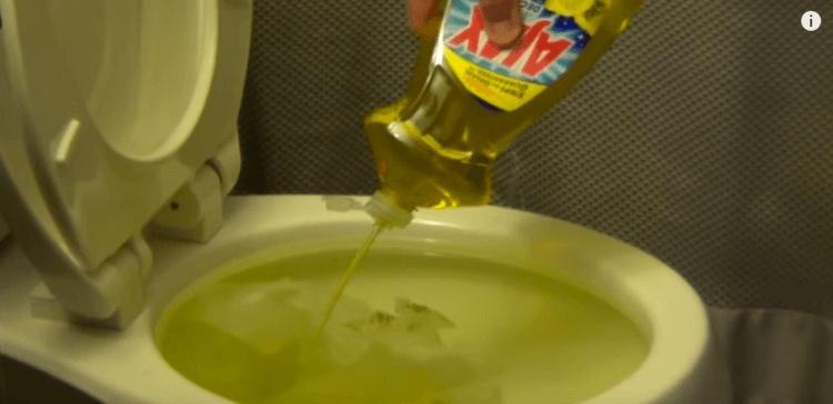 Dish soap in toilet.
