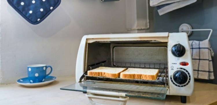 Toaster oven with toast inside.
