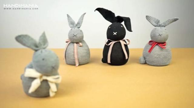 Stuffed bunnies made of socks and rice
