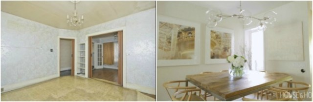 Before and after comparison of dining room renovation