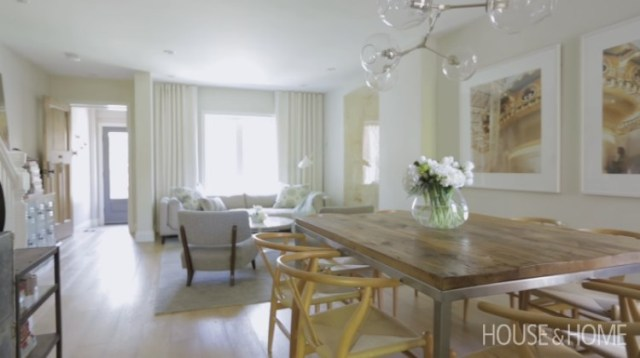 Open floor plan living and dining area after home renovation
