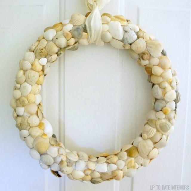 Glue seashells to styrofoam wreath form