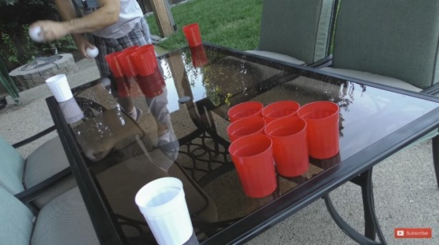 Beer pong table with reusable Dollar Store plastic cups