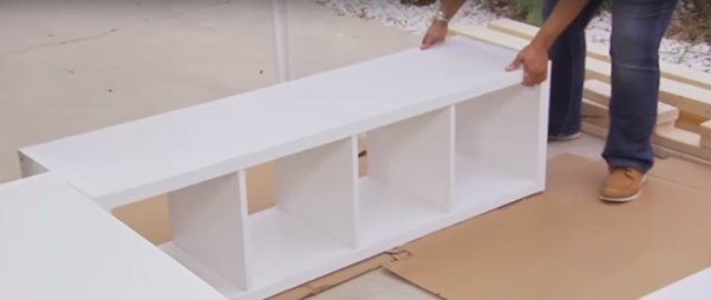 "Bookshelves for platform bed in a ""U"" shape"