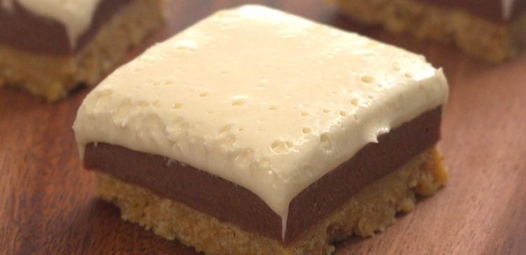 Close-up of square of homemade s'mores fudge