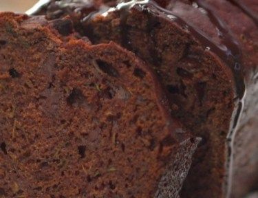 Close-up of sliced loaf of double chocolate zucchini bread