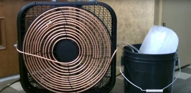 Finished air conditioner made from a box fan
