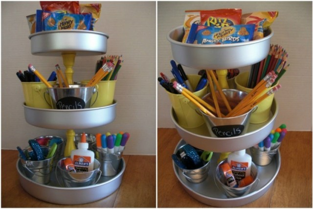 Use epoxy, E600 or glue to attach candlesticks to cake pans for a DIY homework caddy