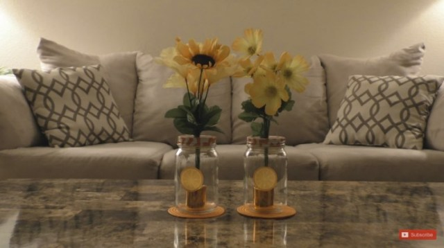 Make centerpieces out of LED candles, mason jars and coasters