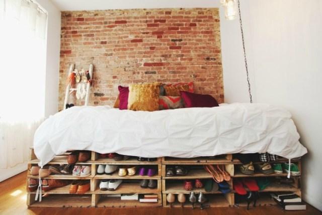 cama de da palet con construido en el almacenamiento de calzado - Camas Con Palets