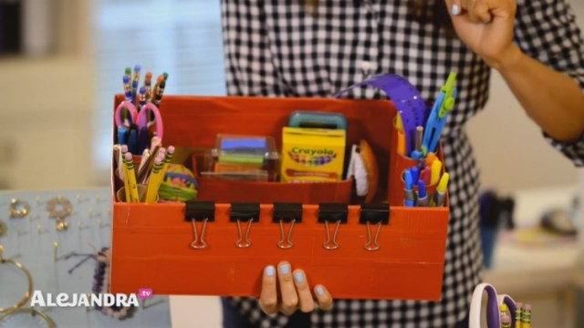 Make a portable homework caddy from upcycled household Dollar Store products
