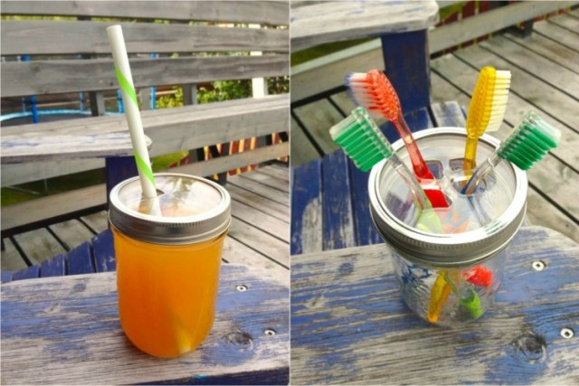 Acrylic mason jar lids for straw and toothbrshes