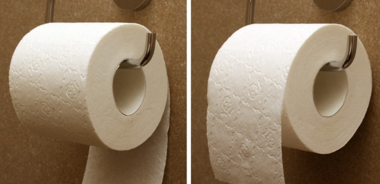 Toilet paper hung going under vs. hung going up and over