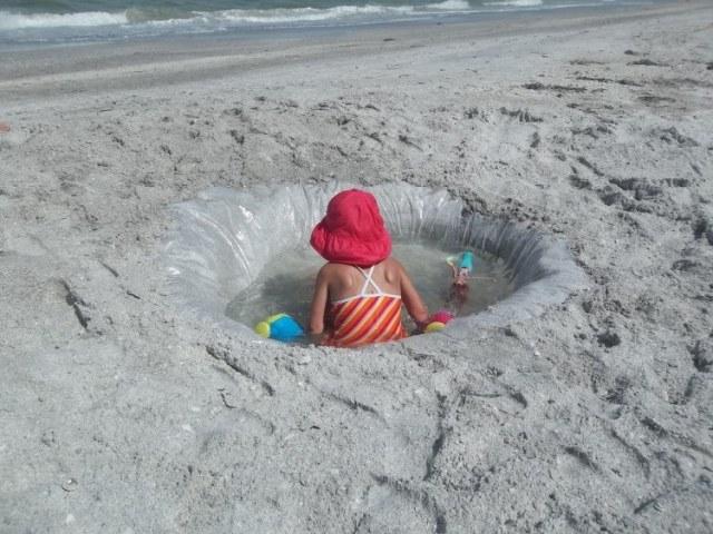 Upgraded, deeper beach kiddie pool.