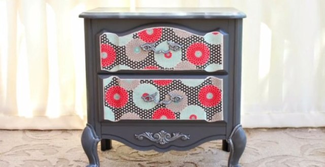Roadside rescue nightstand after decoupage makeover