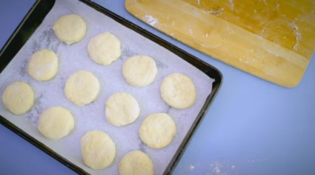 Place scone dough circles on lined baking sheet