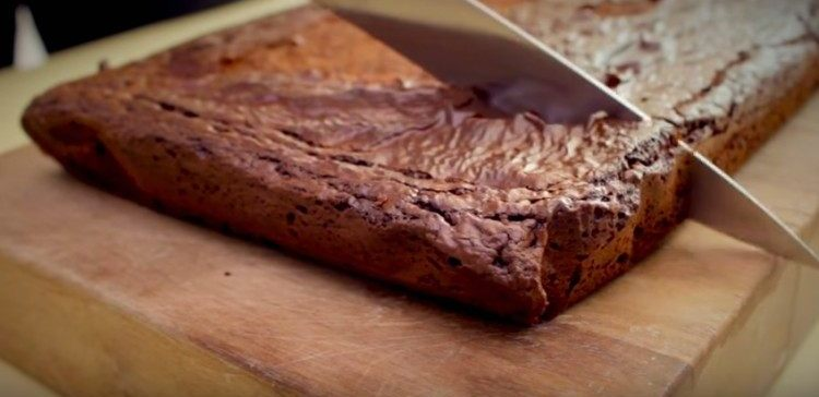Simple brownies made with three ingredients.