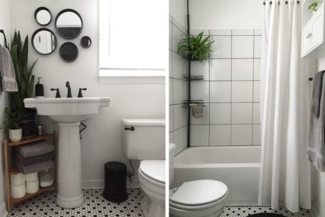 DIY tiny bathroom remodel with new sink and tile.