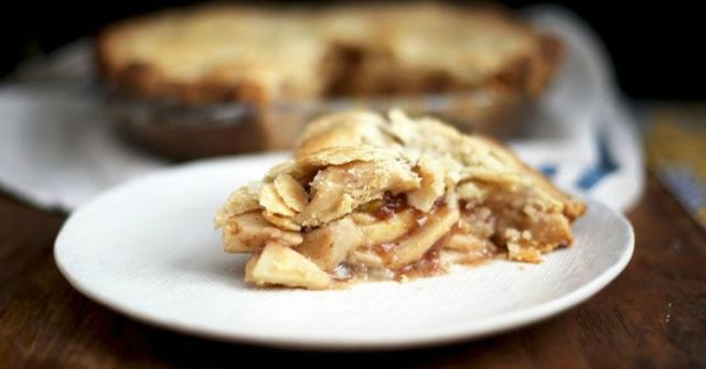 Slice of finished almond apple pie.