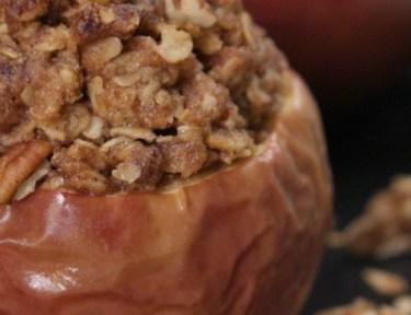 Close-up of apple crisp baked apple