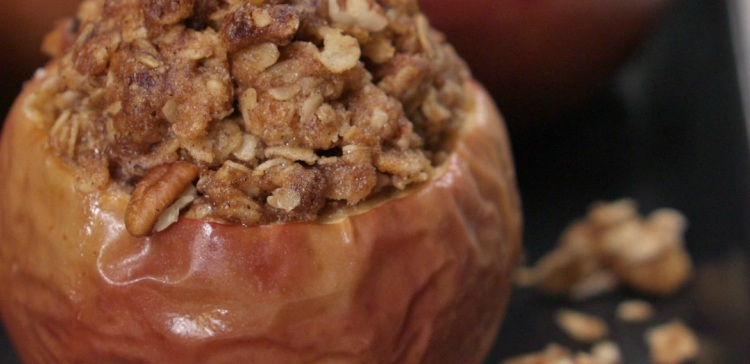 Close-up of apple crisp baked apple
