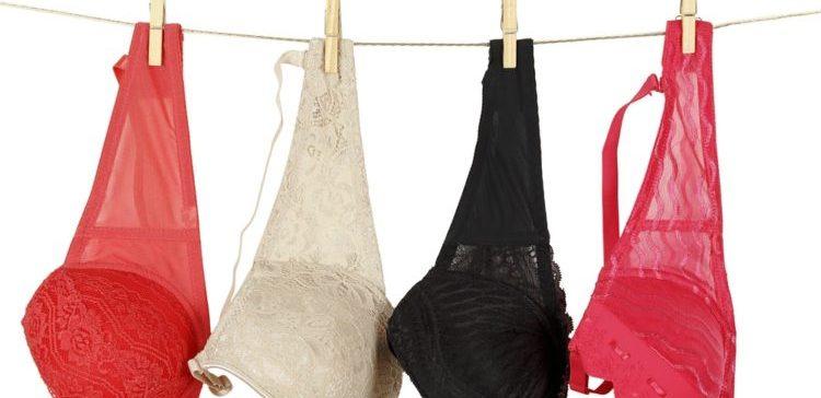 colorful bras on a clothesline