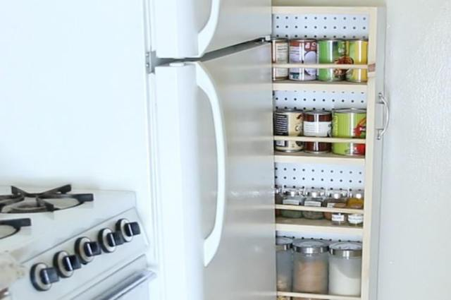 Rolling pantry to increase kitchen storage space.