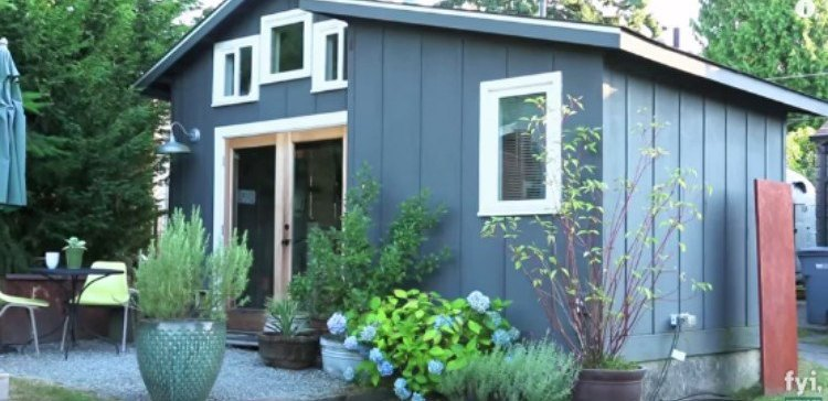 Outside view of tiny house garage
