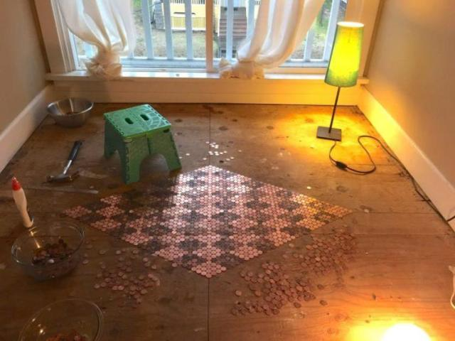 Center base of the DIY penny floor completed.
