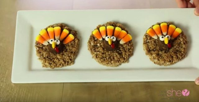 Finished Rice Krispie Turkeys