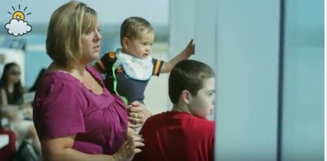 Glascott's wife and two sons wait at airport