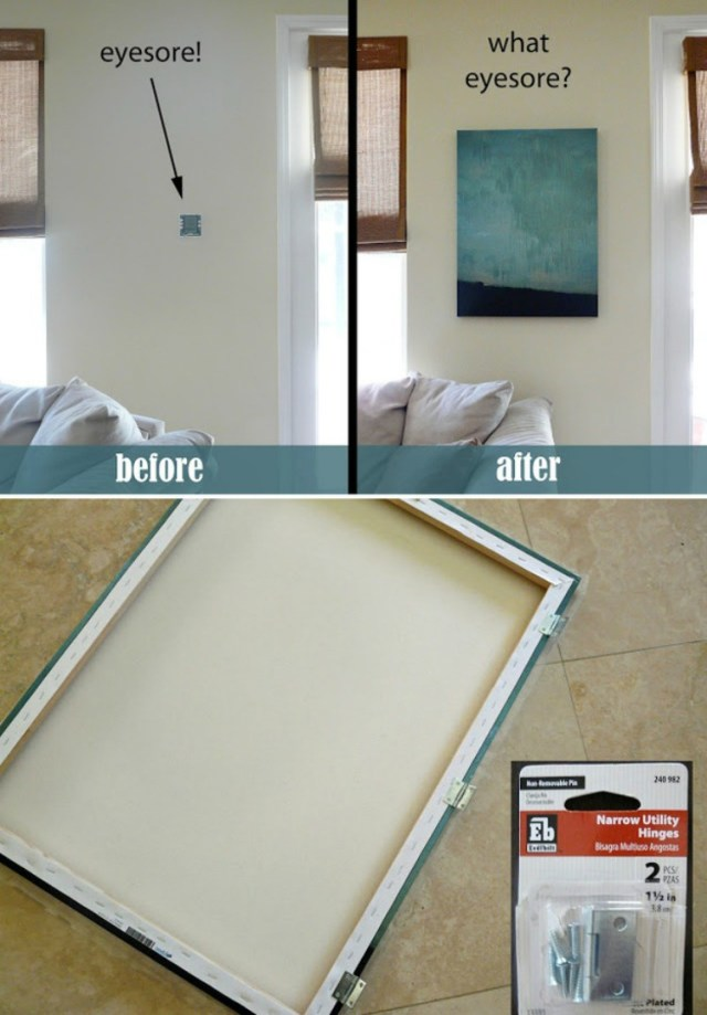 19 ways to hide the ugly fixtures in your home oliphealthy hide thermostat like your fuse box