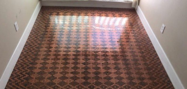 DIY floor made with pennies.