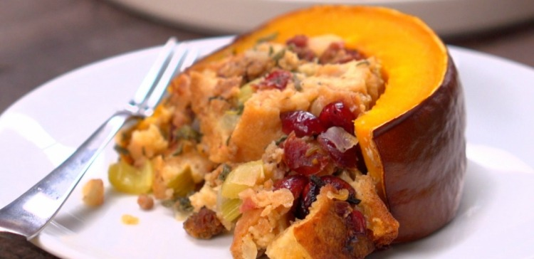 Piece of roasted pumpkin stuffed with stuffing