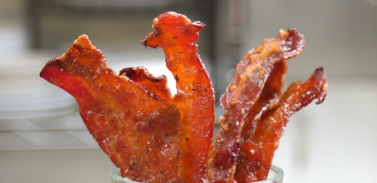 Close-up of bacon candied with sugar and maple syrup