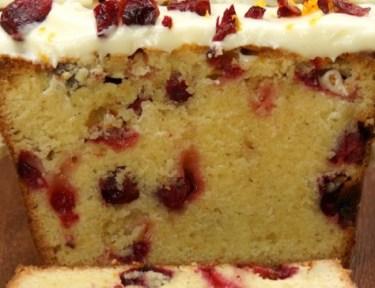 Close-up of cranberry orange pound cake