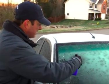 Trick to clear frost off car windowshield