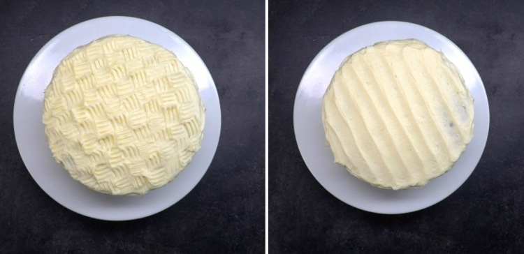 2 cakes decorated with basket weave and striped icing