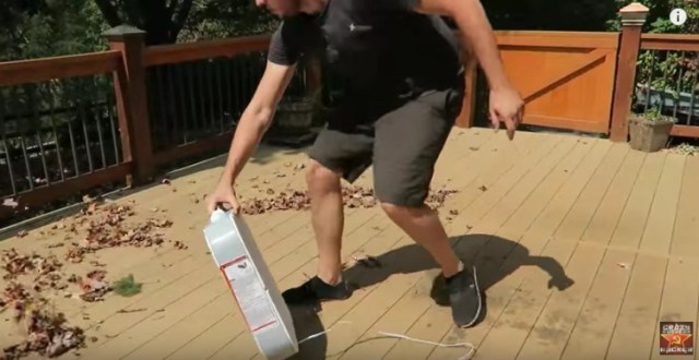 Use a window fan to clear leaves off your porch.