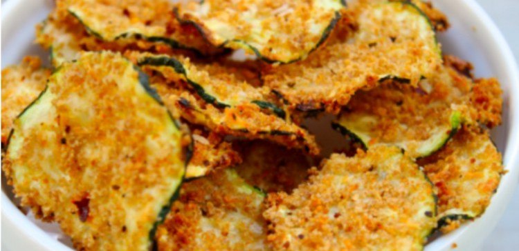 close-up of zucchini chips in a white bowl
