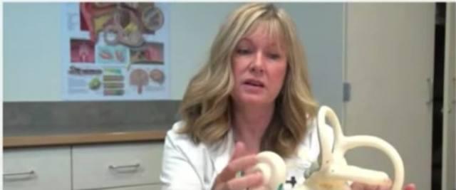 Dr. Carol Foster demonstrating vertigo causes