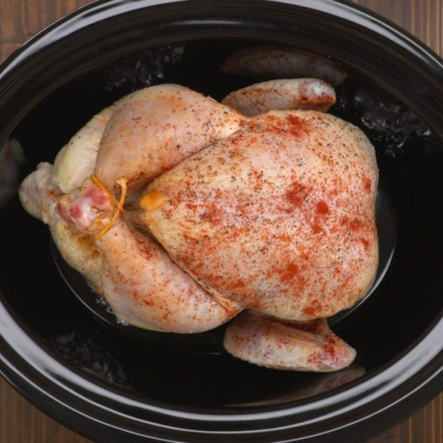 Slow Cooker Whole Chicken bird in pot