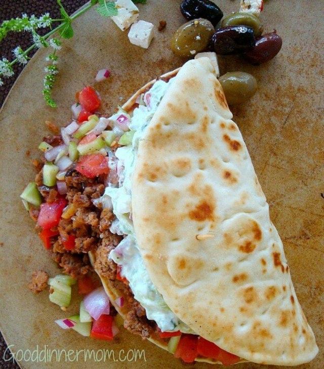Turkey gyro with tzatziki sauce.