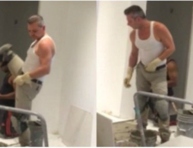 Split image of Construction worker Tony Restivo dancing at job site
