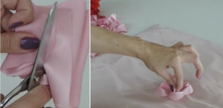 split image of person making a floral pillowcase