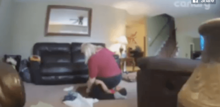 Nanny cam image of abusive sitter.